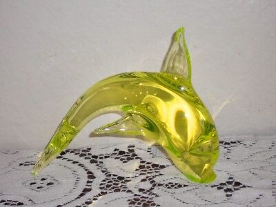 Dolphin Figurine Yellow Vaseline Glass 5""