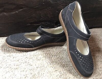 Ara Womens Leather Suede Navy Shoes Sz 40 / 9