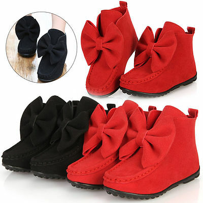 Kids Girls Bowknot Suede Flat Ankle Boots Warm Winter Boot Shoes Size UK 5.5-1