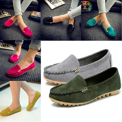 Women Ladies Slip On Casual Loafers Anti Skid Flat  Ballerina Pumps Shoes Size