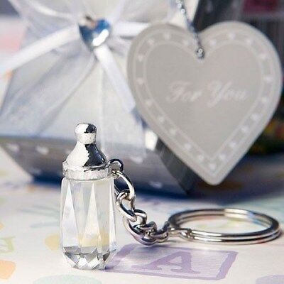 144 Crystal Baby Bottle Design Key Chain Baby Shower Favors