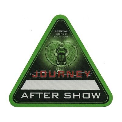 Journey authentic 2001 Arrival Tour satin Backstage Pass after show green
