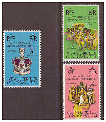 New Hebrides English 1977 Royalty,Silver Jubilee,mint set SG217-219