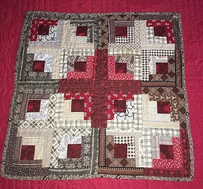 Antique 1860-80 Hand Stitched + Quilted Maine Doll Quilt Great Fabric Log Cabin