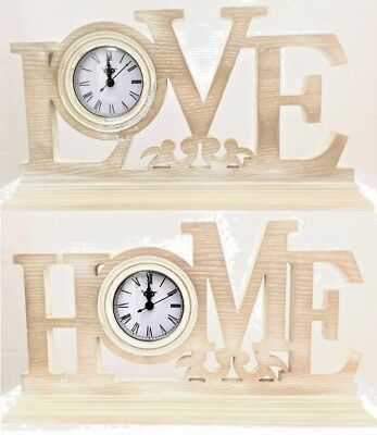 Home Love Shabby Chic Clock Plaque Wooden Vintage Gift