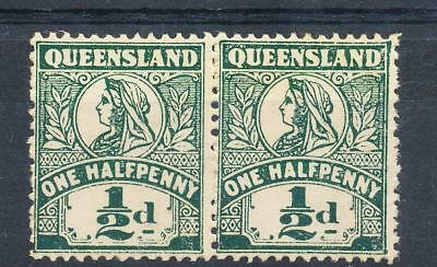 QLD 1/2d pair QV Mint no gum. SG 301 ASC 52