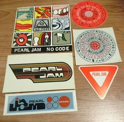 Pearl Jam Stickers x6 inc. Rare South Pacific 1998 tour