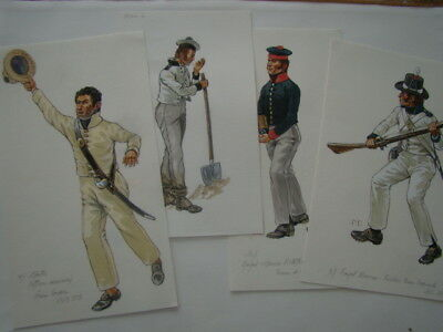 Original Patrice Courcelle : Ensemble de 4 figures marine britannique
