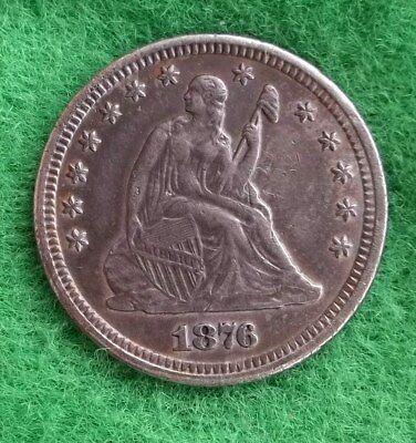 "1876-CC 25C Liberty Seated Quarter reverse of 73 ""no arrows"", ex jewelry"