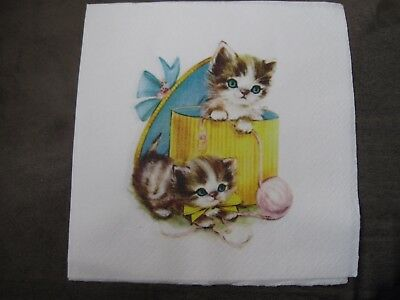 1 Serviette / napkin Katzen in Schachtel 2-lagig cats in a box 2-ply