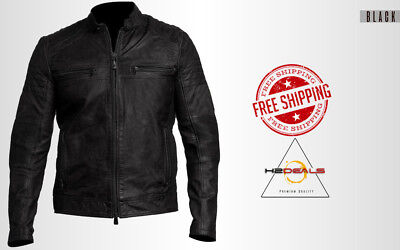 Cafe Racer Men's Biker Vintage Motorcycle Distressed Real Leather Fit Bk Jacket