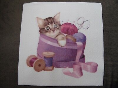 1 Serviette / napkin Katze und Garn 2-lagig cat and yarn 2-ply