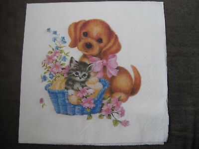 1 Serviette / napkin Hund & Katze 2-lagig cat & dog 2-ply