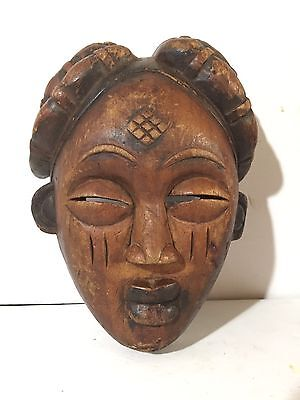 "Vintage HAND-CARVED Wooden BAULE, Ivory Coast MASK African Tribal art 9.5"" x 7"""