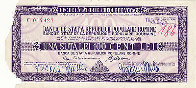 Vintage Rare Type RPR Travellers cheque with watermark 100 lei Romania 1959