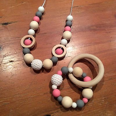 Nursing Necklace & Teether Gift Set, BPA Free Silicone, Organic Wood, Sensory