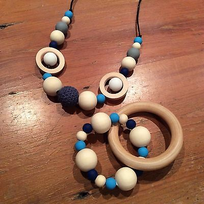 Gift Sets Teether & Necklace 82cm Parent & Bub Nursing, Sensory, Natural/Quality