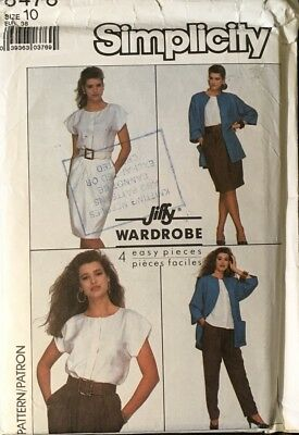 Vintage Simplicity Pattern 8478 Retro Top Skirt Pants & Unlined Jacket Size 10