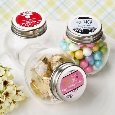 36 Personalized Birthday Design Candy Glass Jar Party Gift Favors