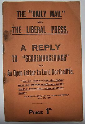 Historic WW1 booklet 'Scaremongerings'. 1915. Northcliffe. Daily Mail. Kaiser.
