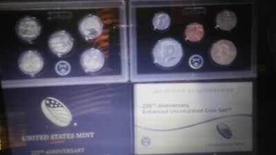 2017-S 1C-$1 Set Enhanced Unc Set 225th Anniversary First Day of Issue (17XC)