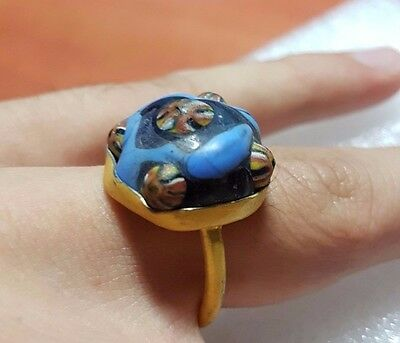 Ancient mosaic ring roman glass Bronze gild gold color 9.5 size 19.4 mm