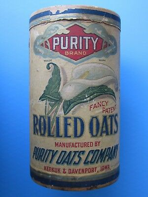 vintage Purity Rolled Oats box