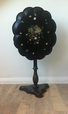 19th Century Victorian Papier Mache Tilt Top Occasional Table