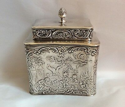 Antique German Repousse Tea Caddy  800 Silver Scenes of Play w/ Lid 178g 19thC