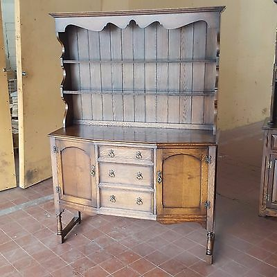 Antique Oak Cantered Dresser Sideboard With Back Shelving Drawers & Cupboards