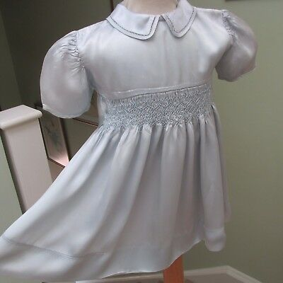 Vintage Absolutely Gorgeous Small Child's Satin Silk Hand Smocked Dress