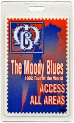 Moody Blues authentic 1992 concert tour Laminated Backstage Pass ALL ACCESS red