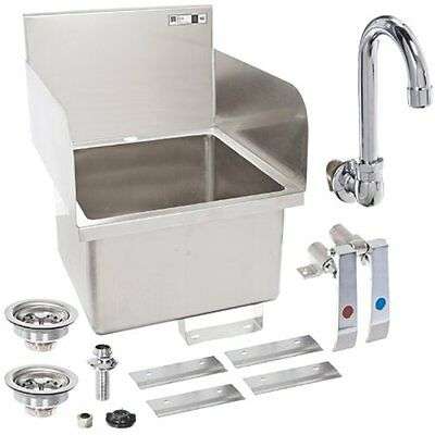 PBHS-W-1616-SSLR Single Bowl Stainless Steel 304 Pro-Bowl Hand Sink, Faucet Hole