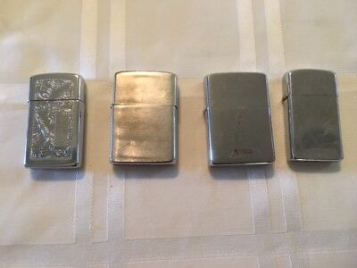 Lot of four 4 Vintage Zippo Lighters