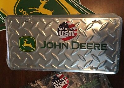 John Deere Silver Embossed Diamond Plate Officially Licensed License Plate