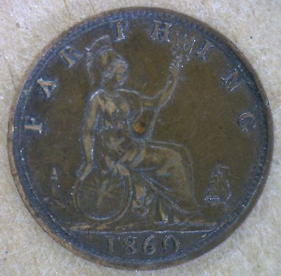 1860 Bronze Farthing Toothed Border Great Britain UK Coin XF