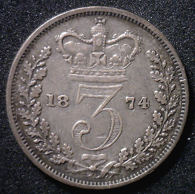 1874 Silver 3 Pence Great Britain UK Coin VF