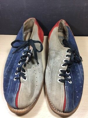 Vintage '70s Two Tone EB BOWLING Shoes Grey, Red And Blue Rental size 11 Suede
