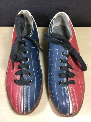 Vintage '70s Two Tone EB BOWLING Shoes Grey, Red And Blue Rental size 7