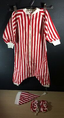 Vintage 1950's Baby Christmas wool blend Mun-Robe by Walter J. Munro Red Stripes