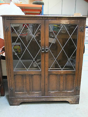 Vintage Oak Glazed Bookcase 'Old Priory' Style - Mid 20th C [4100]