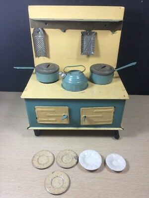 Vintage Wells Brimtoy Tin Stove Made In England Blue Yellow Tea Kettle Access