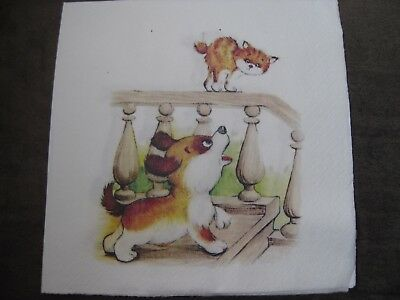 1 Serviette / napkin Hund und Katze 2-lagig dog with cat 2-ply