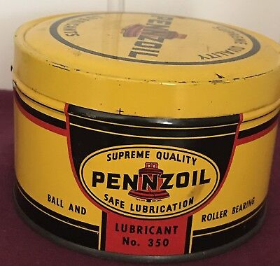 Vintage 1 Pound Tin Can PENNZOIL [OIL] COMPANY Bearings Lubricant  #350