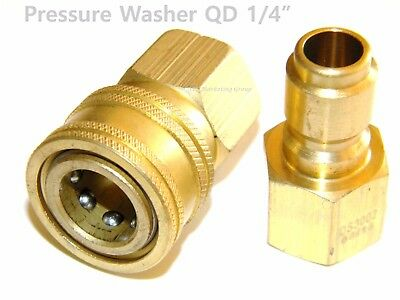 "Pressure Washer Hose Wand 1/4"" Brass Plug & Socket QD"