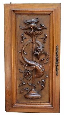 French Antique Exceptional Carved Neo-Gothic Griffin Wood Cabinet Door Panel