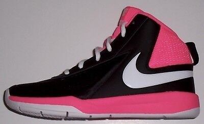 Nike Team Hustle Basketball Sneakers Shoes Black White Pink Youth Size 5 New
