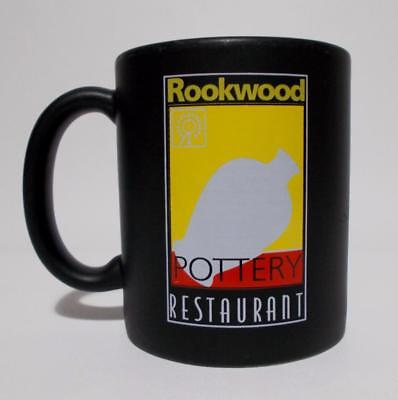 Rookwood Pottery Restaurant Mug Matte Black Logo Coffee Cup
