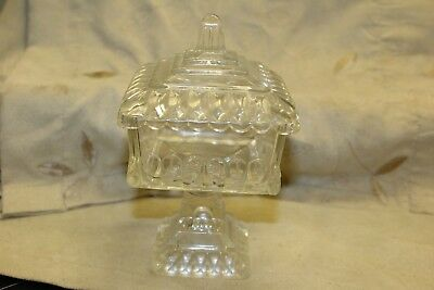 Vintage Square Clear Glass Footed Candy Dish with Lid