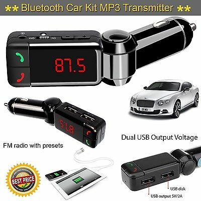 Bluetooth FM Transmitter Wireless MP3Player Car Kit Charger For iPhone Samsung